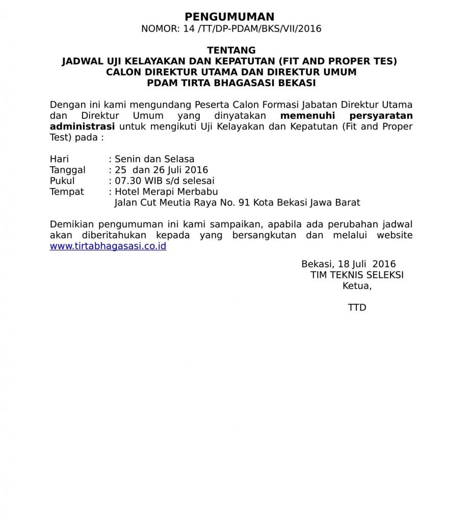 PENGUMUMAN HASIL SELEKSI ADMINISTRASI CALON DIRUT DAN DIRUM-2